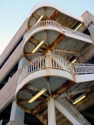 Corroding staircases Denver Parking Garage