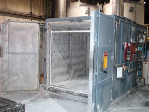 Powder coating oven used to cure the coating and outgas hot-dip galvanized pieces before powder coating